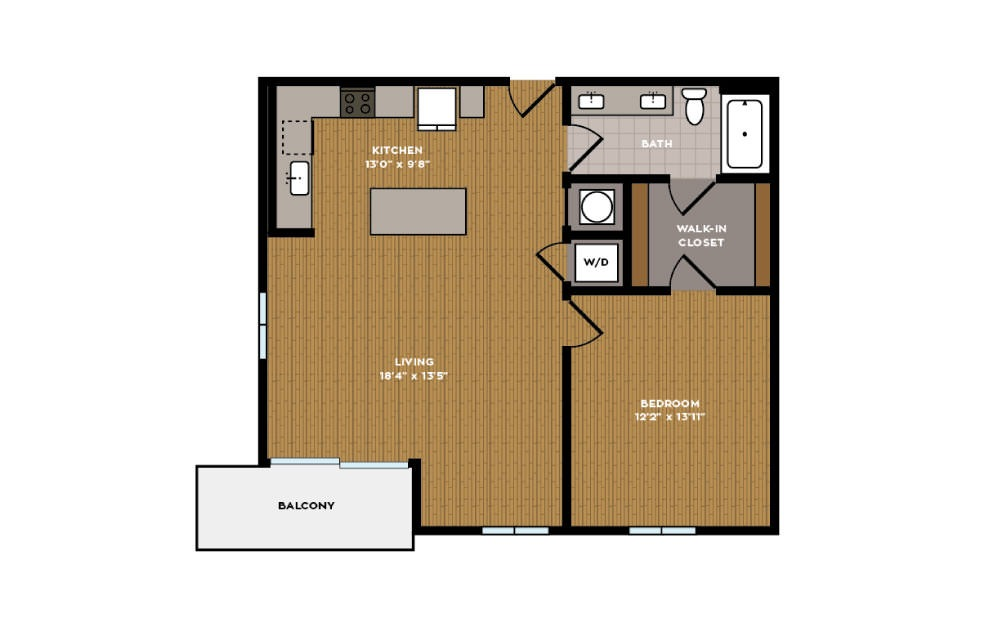 1B-1 - 1 bedroom floorplan layout with 1 bath and 775 square feet.