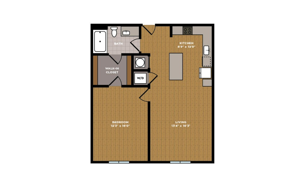 1C-1 - 1 bedroom floorplan layout with 1 bath and 743 square feet.