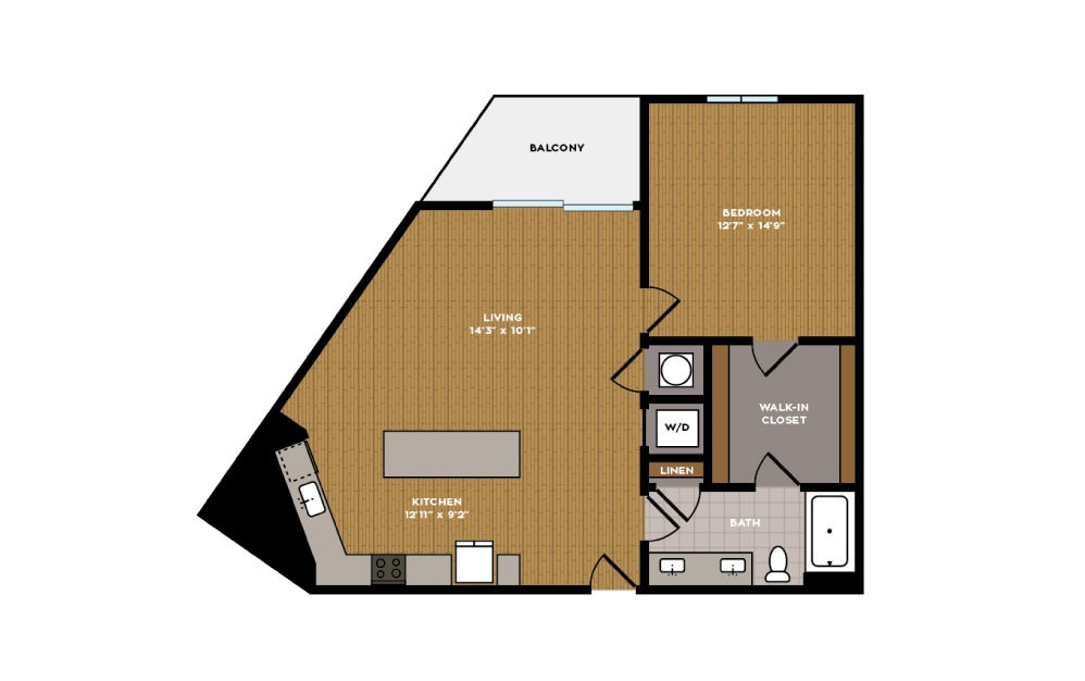 1D-1 - 1 bedroom floorplan layout with 1 bath and 803 square feet.