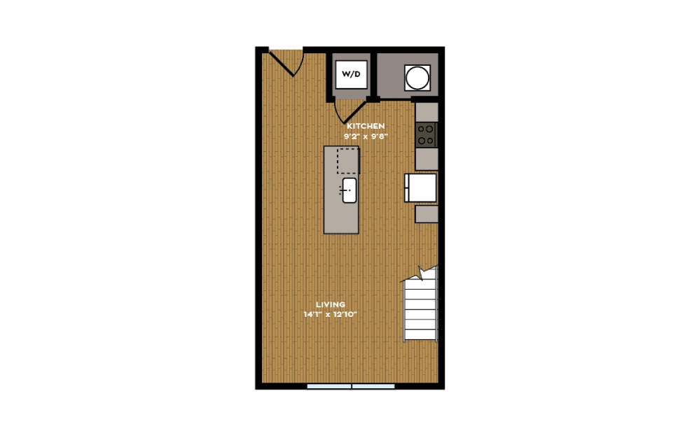 1F-1 - 1 bedroom floorplan layout with 1 bath and 782 square feet. (Floor 1)