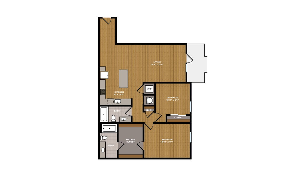 2F-1 - 2 bedroom floorplan layout with 2 baths and 1083 square feet.