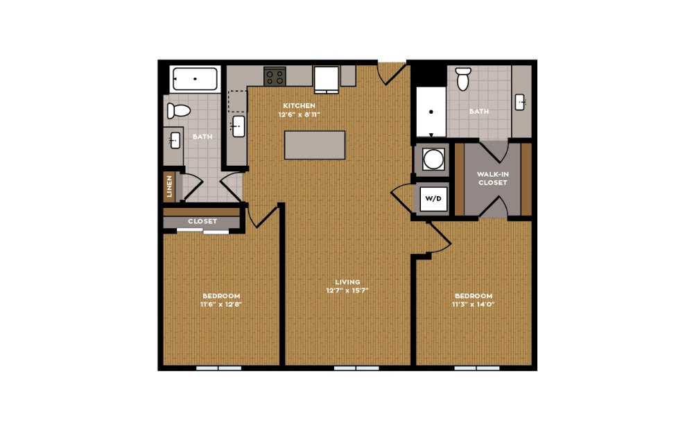 2G-1 - 2 bedroom floorplan layout with 2 baths and 1011 square feet.