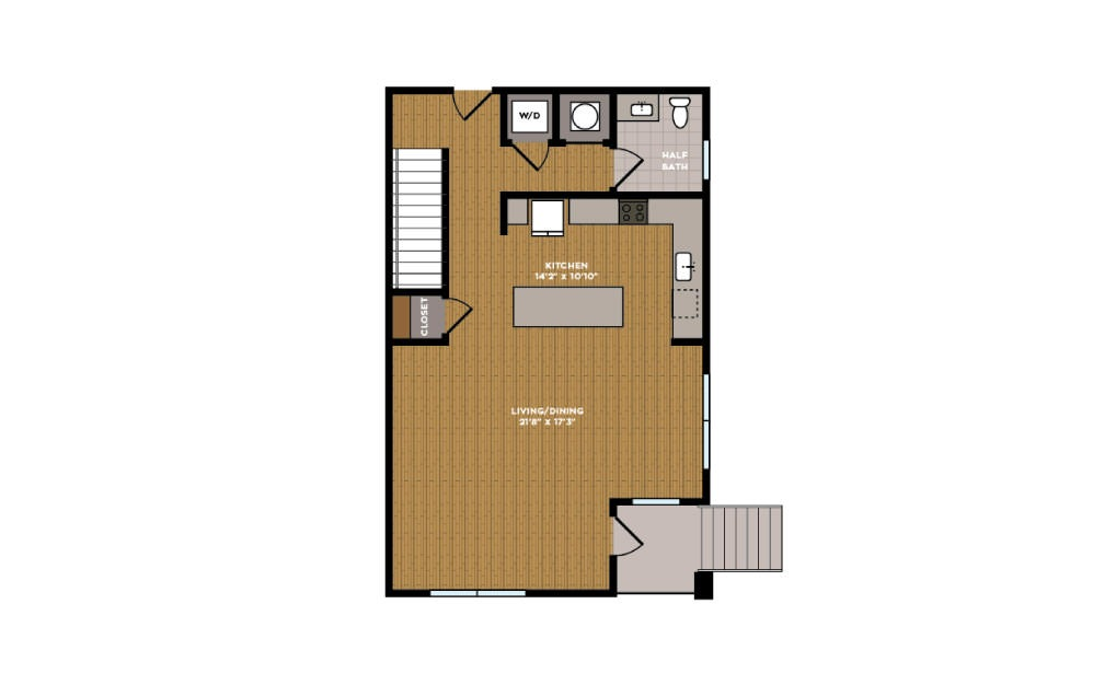 3B-1 - 3 bedroom floorplan layout with 2.5 baths and 1469 square feet. (Floor 1)
