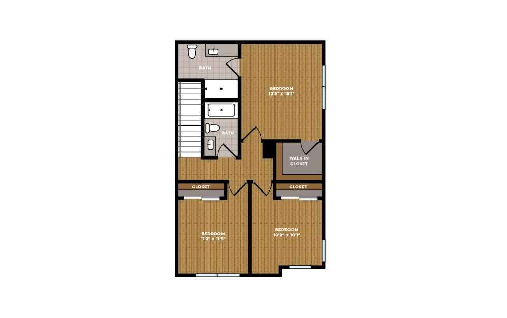 3B-1 - 3 bedroom floorplan layout with 2.5 baths and 1469 square feet. (Floor 2)